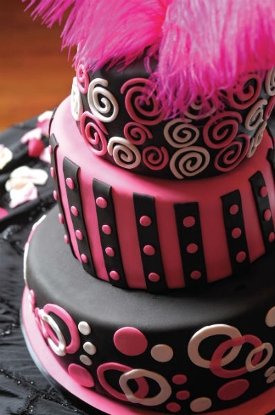 Pink, black and white cake