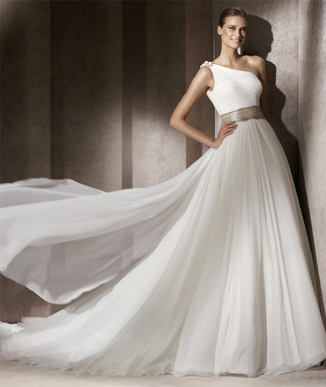 Pronovias One Shoulder Wedding Dress