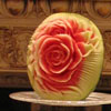 edible fruit carving and chocolate fountain