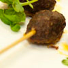 lamb kofta fritters with roasted pepper tapenade