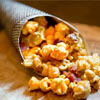 maple-bacon caramel crisp with aged cheddar corn & candied bacon crumble
