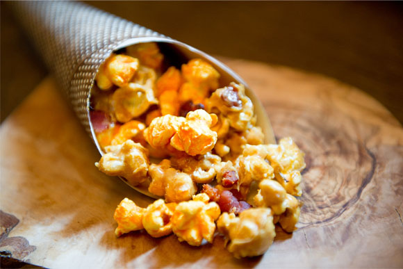 maple-bacon caramel crisp with aged cheddar corn & candied bacon ...