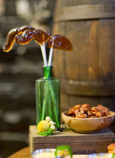 Root Beer Mustache lollipops and rosemary candied nuts