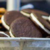 Oh! R-E-O cookies &amp; peanut butter milk chocolate sandwiches &amp; spiced apple cheese fritters