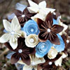 Blue, cream and brown paper rosette and folded style blooms bouquet