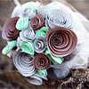 Teal, brown and silver autumn paper bouquet