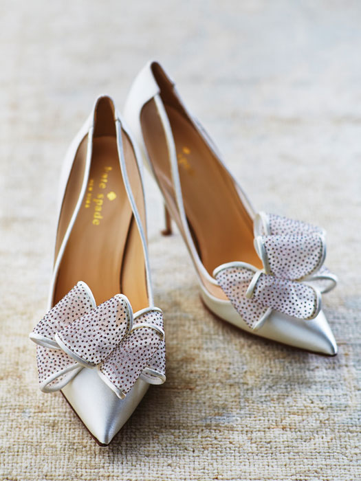 Bridal shoes todaysbride lovely in satin with glitter dot bow from kate spade junglespirit Images