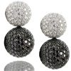 18k white diamond pave and black diamond pave stacked earrings