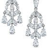 AVA Nadri cubic zirconia chandelier drop earrings in white rhodium plated brass