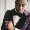 Groom's Purple Suit with Cufflinks