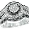 Enhanced black and white diamond layered frame ring in 10K white gold