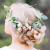 Loose Bridal Tousled Updo with Flower Crown