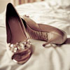 Champagne & jewelled peep-toed pumps with inscription from groom