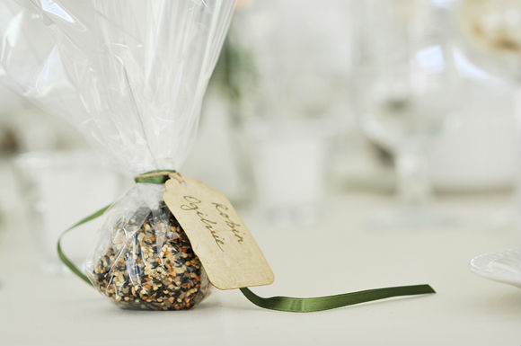 Bird seed favours in cellophane wrapped with green ribbon