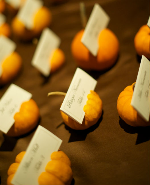 Mini pumpkin place settings