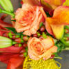 Autumn-coloured bouquet with orange roses, hand tied with red ribbon