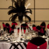 Red & black chair covers, black & white linens, feather centerpieces