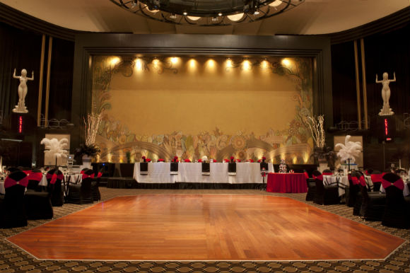 Head table, dance floor and guest tables for red and black wedding
