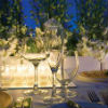 Elegant décor with white flower centerpieces and gold side plates