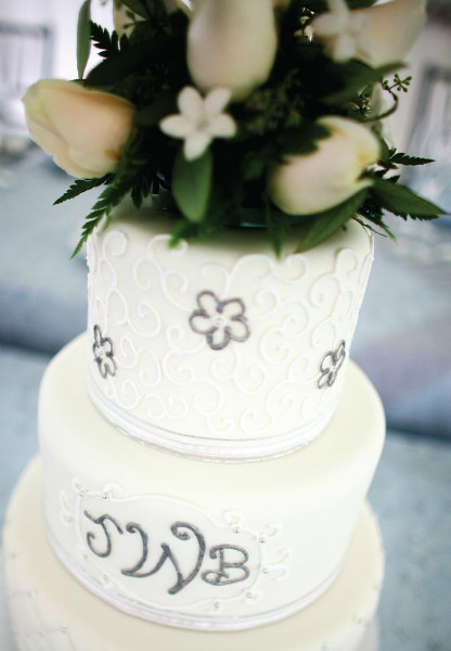 Elegant white three tier cake with metallic buttercream design & fresh floral topper