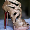 Gold glitter strappy Christian Louboutin heels with back zipper