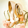 Badgley Mischka open peep-toed pumps with silk flower detail