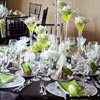Modern elegant tall martini glass centerpieces
