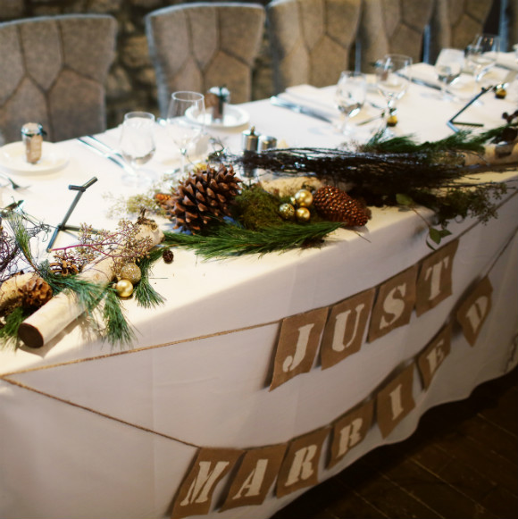 Rustic table decor using natures forest findings