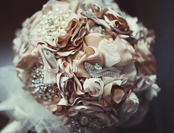 Glam Bridal Bouquet With Champagne Fabric Flowers And Folds Pearl Flowers And Jeweled Accenst
