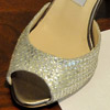 Open toe Jimmy Choo metallic silver pump