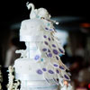 Six tier cake with intricate beading in white and lavender with a peacock cake topper