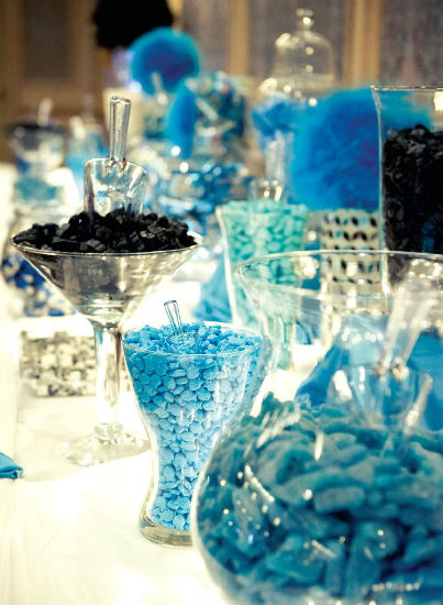 Blue and black themed sweets table