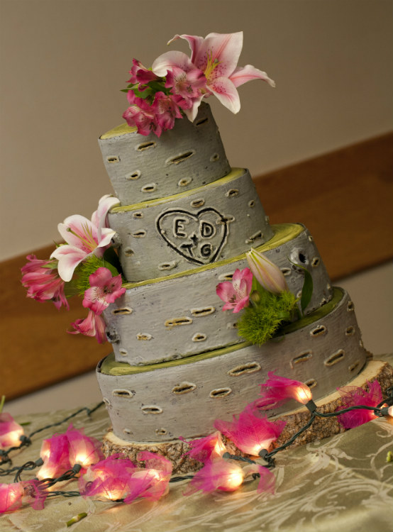 4 tier rustic tree-like cake with pink flower accents