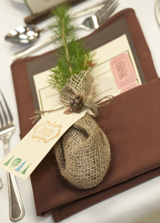 Tree plant wedding favour wrapped in burlap