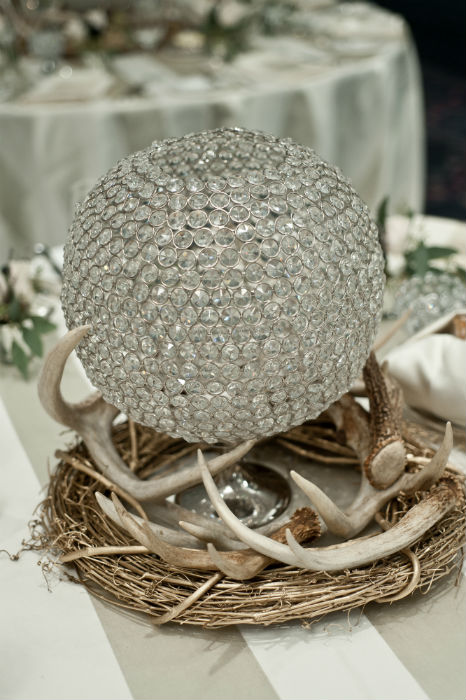 Crystal ball centerpieces with rustic accents