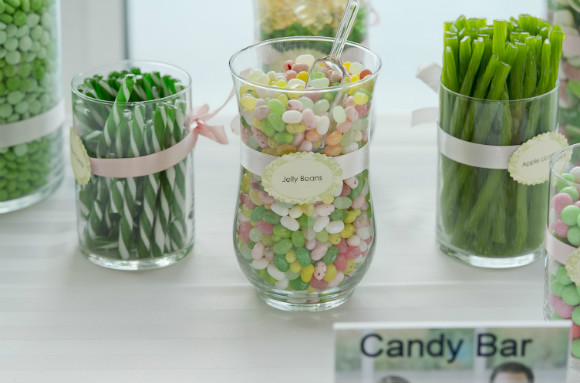 Green themed candy bar.