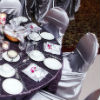 Lilac &amp; violet reception d&#233;cor, modern centerpieces with white flowers