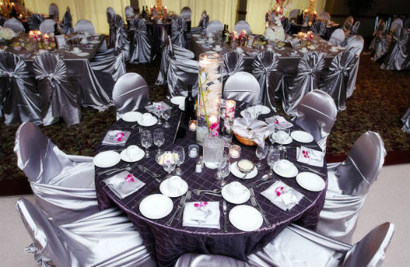 Lilac & violet reception décor, modern centerpieces with white flowers