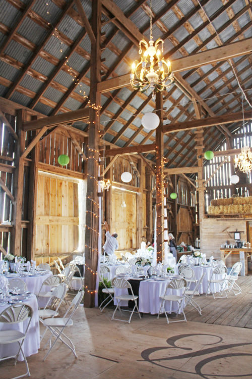 Barn decorated reception