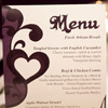 Whimsical purple and white menu