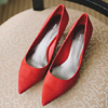 Red pointy-toed kitten heel Nine West pumps