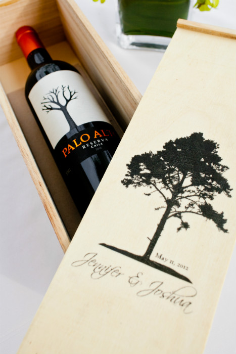 Bottle of wine with personalized wooden box