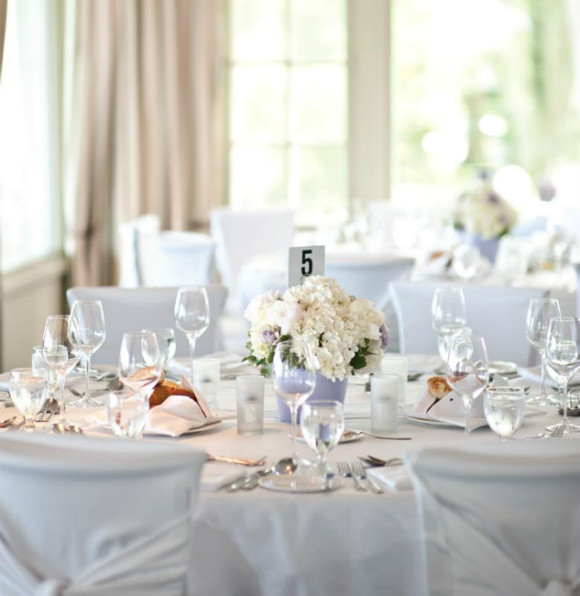 All White Place Settings, Table Linens And Centerpieces