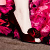Deep red open toe pumps with rose bud detail on toe