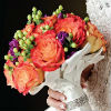 Vibrant orange rose bouquet with green and violet accent flowers
