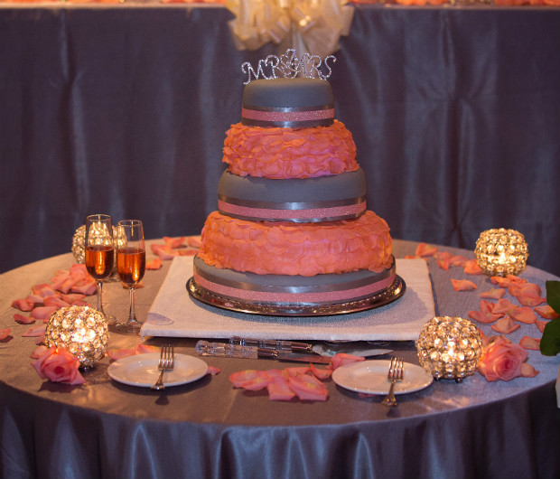 3 tiered grey and coral pink with fondont rose petals