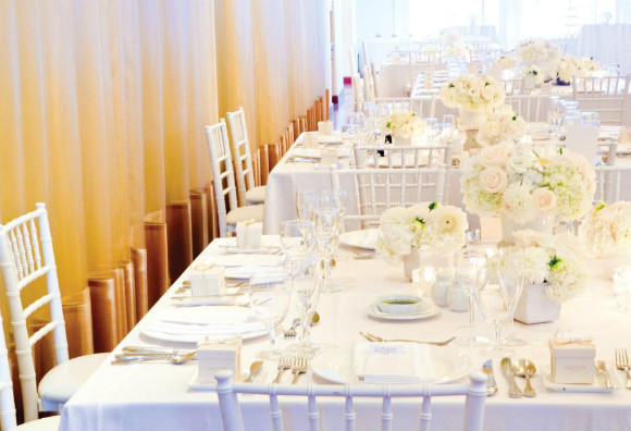 All white reception d cor with vintage feel Photography by Karl Anderson of