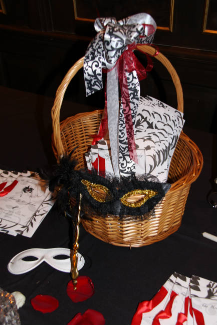 Masquerade masks in white and black matching the couple's theme
