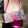 Hot pink Kate Spade open toe slingbacks with sequin bow