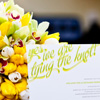 Spring or fall bouquet with yellow tulips with white tulip accents